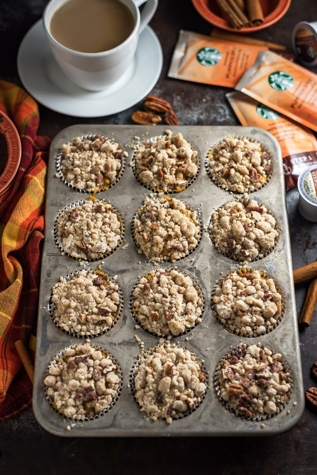 Pumpkin Crumb Muffins with Cream Cheese Glaze. If you love pumpkin spice, you're going to adore these moist and delicious muffins! They make for the perfect fall breakfast. | hostthetoast.com