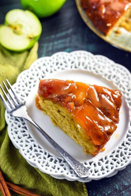 Salted Caramel Apple Upside Down Cake. This easy fall dessert is full of cinnamon, brown sugar, apple, and caramel flavors. | hostthetoast.com