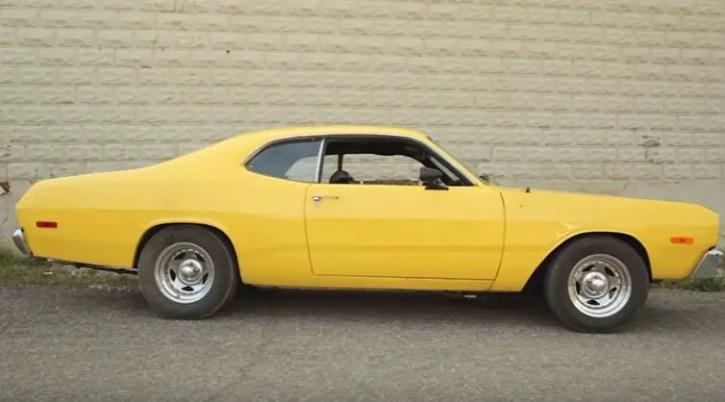 yellow 1973 dodge dart 318