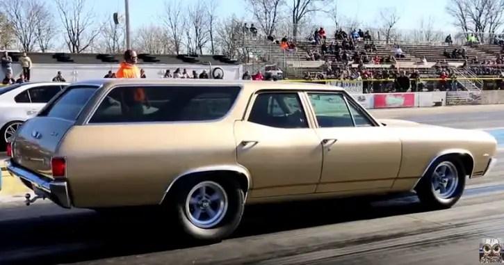 1970 chevy chevelle wagon drag racing