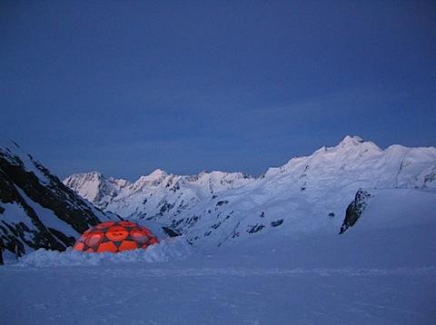 Geodesic equipment dome high on Tasman Glacier
