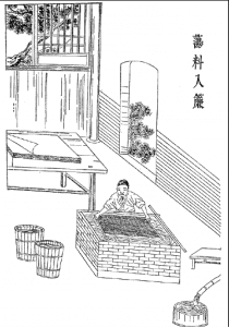 Ancient Chinese paper making technique. Softening the fibers pressing the fibers into the shape of paper using a mold and deckle