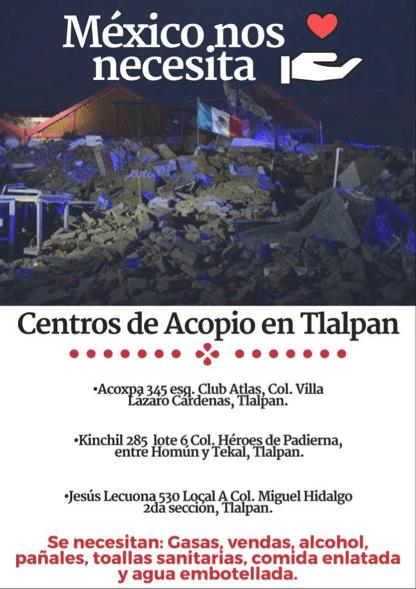 ¿Cómo ayudar a las víctimas del temblor del pasado 7 de septiembre en México? - tlalpan