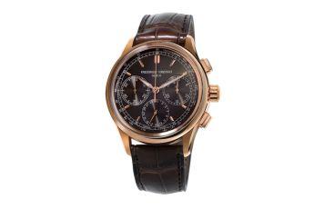 Flyback Cronograph Manufacture - Frederique Constant carátula negra piel café