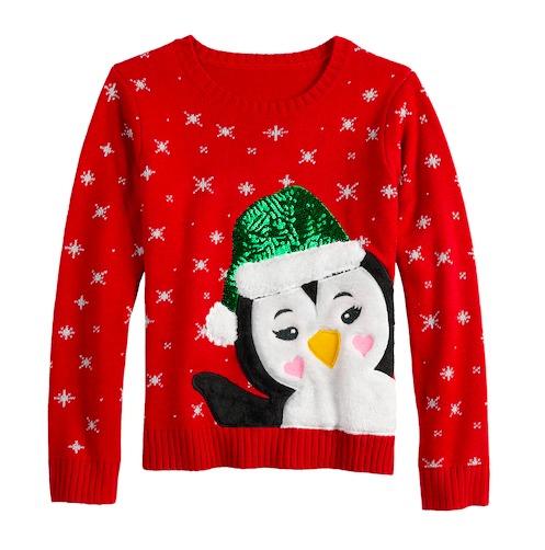 Inspiración para tu próxima Ugly Christmas Sweater Party - penguin-christmas-sweater