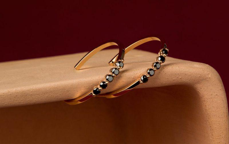 Georgina Rojo: joyería inspirada en la naturaleza - arracadas-aretes-oro-diamante-negro-joyas