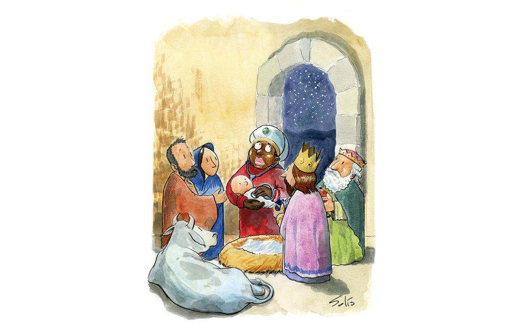 Dr. Baltasar, el rey mago que viaja en burro - ilustración reyes magos jesús josé maría nacimiento