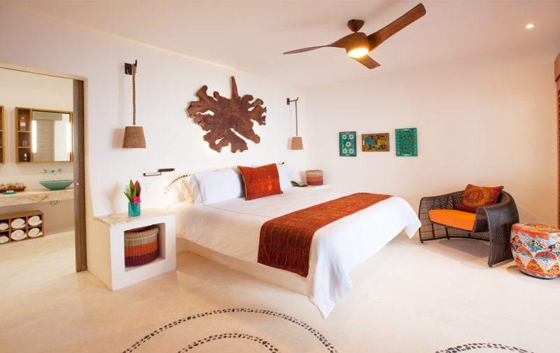 Mahekal Beach Resort, un paraíso en el Caribe mexicano - cuarto-recamara-mahekal-decoracion-organica-vacacion