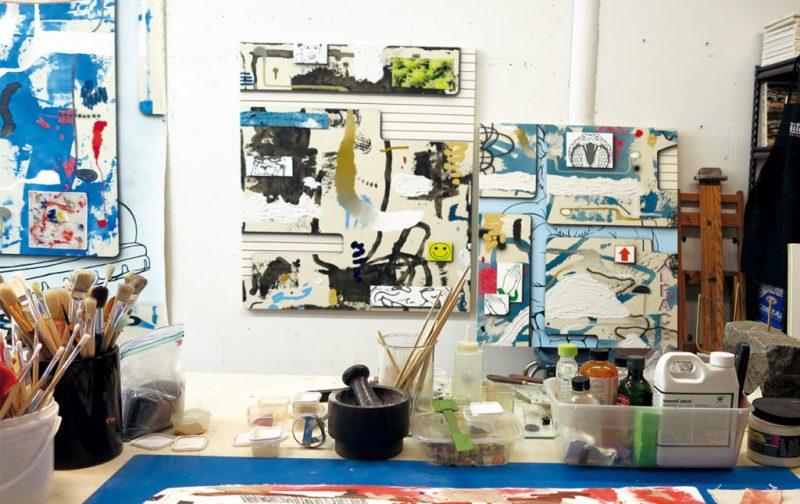 Josh Reames: libre de mensajes didácticos - portada-pinceles-material-taller-arte-josh-reames-artista-pintor