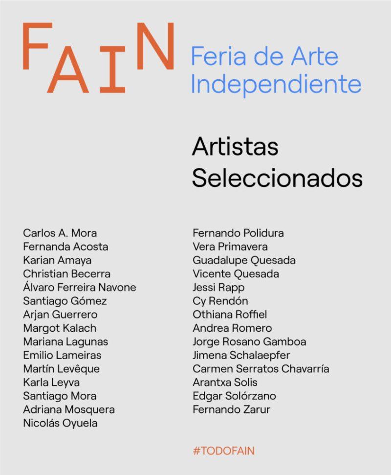 FAIN celebra su segunda edición en una novedosa modalidad - lista-seleccionados-fain-01
