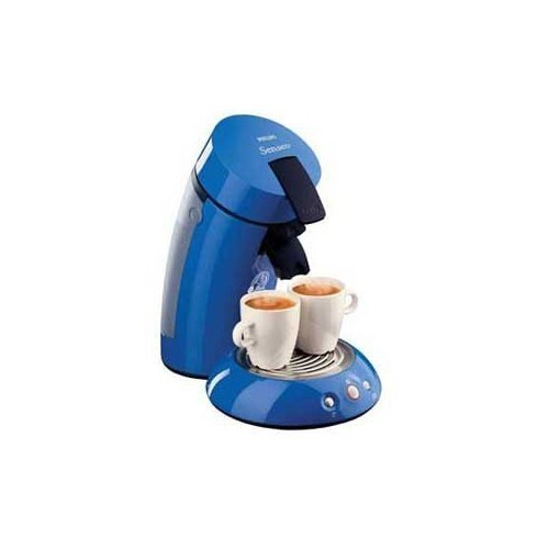 Senseo HD7810 gourmet single serve coffee maker in blue.