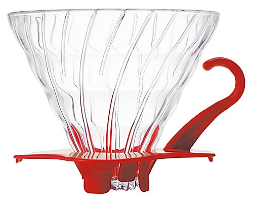 Hario VDG-02R V60 02 Glass Coffee Dripper, Red