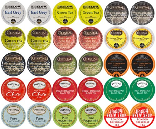 30-count TOP BRAND TEA K-Cup Variety Sampler Pack, Single-Serve Cups for Keurig Brewers