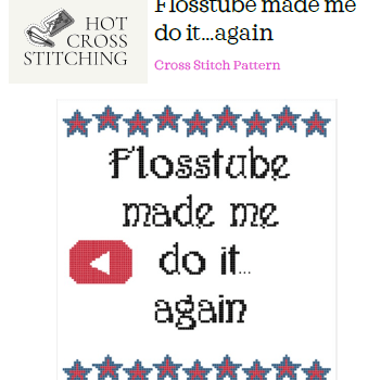 Cover image for cross stitch pattern called Flosstube Made Me Do It...again. It has a banner of stars at the top and the words in the middle with the YouTube logo to the left of the word 'do'. There is a banner of stars at the bottom of the picture.