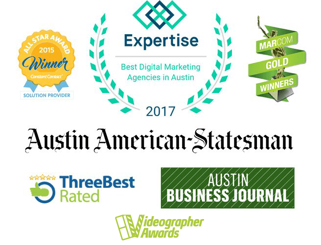 various logos including the austin american-statesman and austin business journal