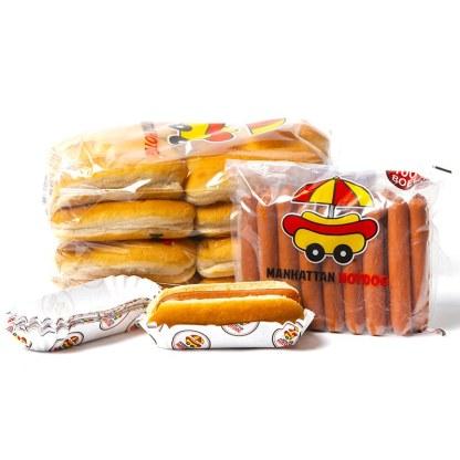 Pack Starter Manhattan Hot Dog composé de 24 hotdogs, 2 sachets de 12 pains, 1 poche de 24 saucisses