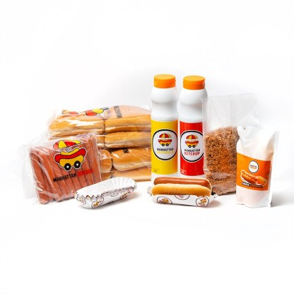 Pack Classic Manhattan Hot Dog composé d'un kit de 24 hotdogs + les sauces Manhattan Hot Dog, les Onions Cirspies et la poche de cheddar Manhattan Hot Dog