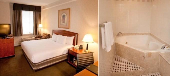 Room with a private hot tub in Hilton Cincinnati Netherland Plaza hotel
