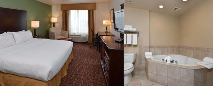 King suite with a Whirlpool in the room in Holiday Inn Express Hotel & Suites Cherry Hills, Omaha, Nebraska