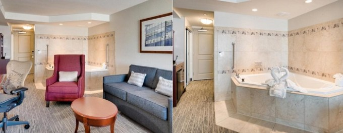 King suite with a hot tub in Hilton Garden Inn Milwaukee Airport hotel
