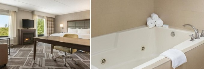King suite with a whirlpool tub and fireplace in Hampton Inn & Suites by Hilton Manchester Bedford hotel, NH