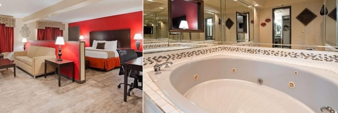 Room with a whirlpool tub in SureStay Plus Hotel by Best Western Oklahoma City North hotel, OKC