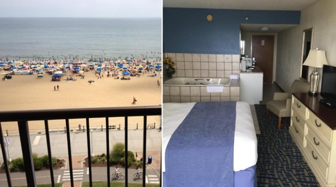 Oceanfront suite with a hot tub in Capes Hotel, Virginia Beach, VA
