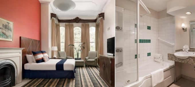 Suite with a whirlpool tub and a fireplace in The Mansion on Delaware Avenue Hotel, Buffalo, NY