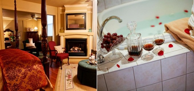 Hot tub suite with a fireplace in Haven By The Sea B&B, Wells Beach, Maine