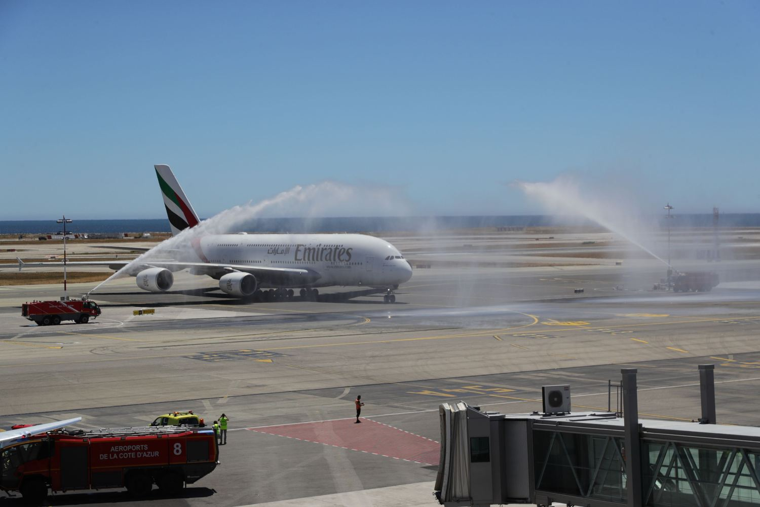 The Emirates A380 being welcomed at Nice Airport with a traditional water cannon salute.
