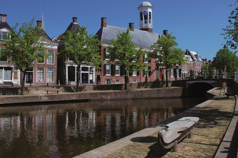 Het keerpunt van de Friese Elfstedentocht in Dokkum