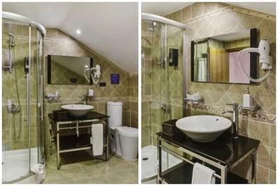 Baño de la Habitación Quíntuple del hotel de montaña el corzo