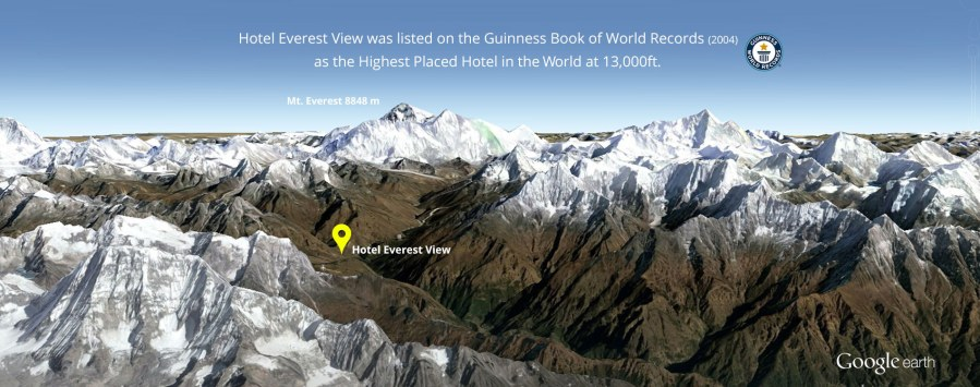 Hotel Everest View   One of the Highest Placed Hotel in The World     Google earth Hotel Everest View location