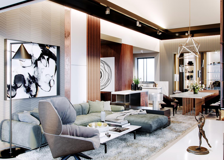 Luxusna obyvacka interierovy dizajn rodinneho domu