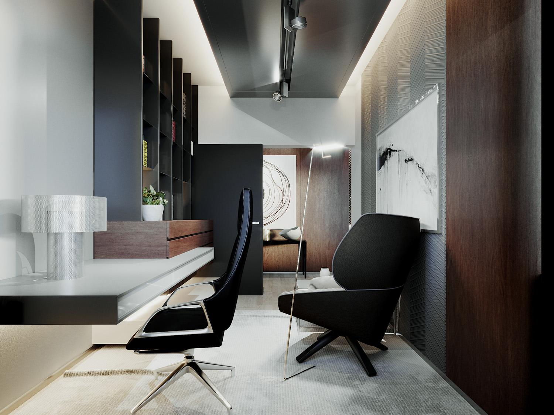 luxusny Interierovy dizajn domaca pracovna home Office
