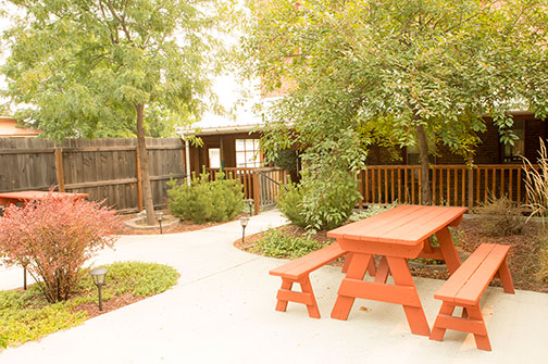 back patio with picnic benches