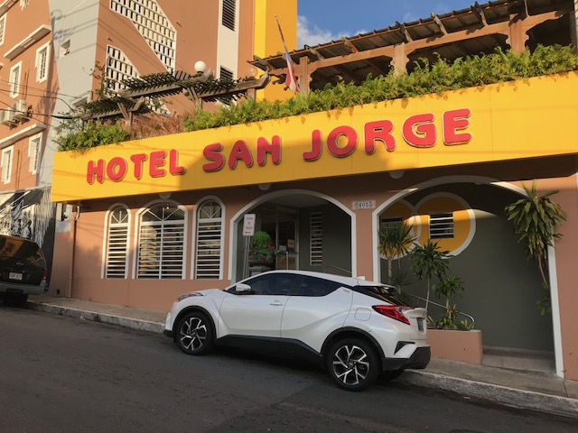 Entrance is at 605 Calle San Jorge - free parking available on the street.