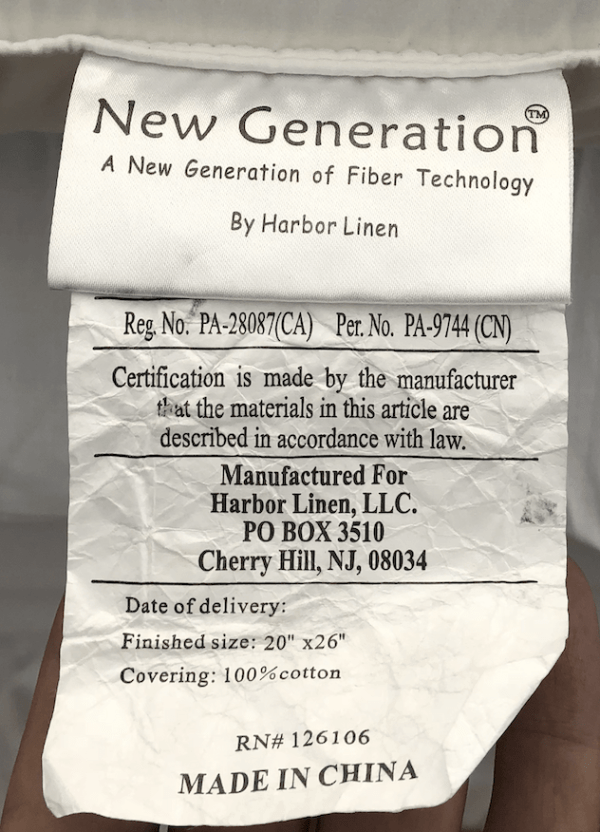 New Generation Pillow by Harbor Linen - Old Tag