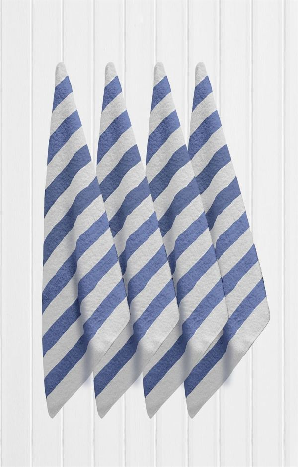 Blue Striped Pool Towels hanging 4 of them