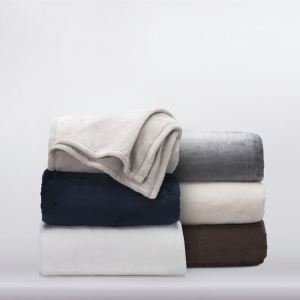 Assortment of Plush Blankets, by TY Group and Harbor Linen: Navy, White, Vanilla, Chocolate, Bone and Grey