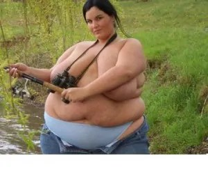 Sexy SSBBW in her jeans and topless fishing.
