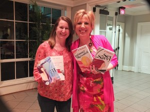 Sheila and Me at Girl Talk—holding each other's books!