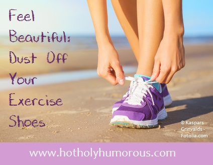 Woman tying athletic shoes + blog post title