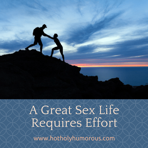 Blog post title + couple helping each other up a mountain