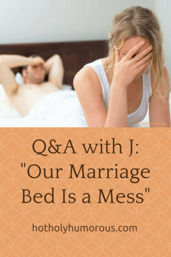 Blog post title with unhappy couple in bed