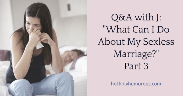 Blog post title + man sleeping on bed with tearful woman sitting on edge