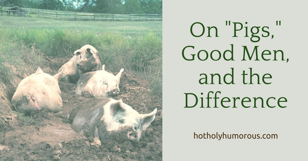 Blog post title + four pigs mucking about in a muddy spot within a field