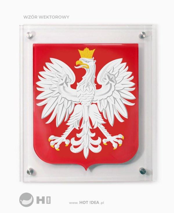 Szklany Herb Polski do zawieszenia na ścianie. Przestrzenne godło ze szkła, Szklane Godło do urzędu, godło do szkoły.