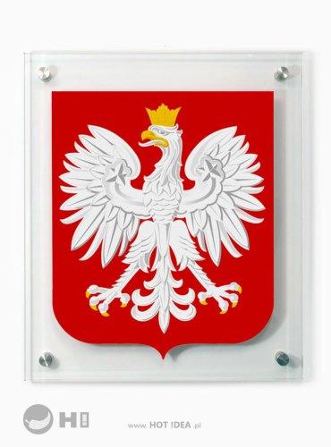 Szklany Herb Polski do zawieszenia na ścianie. Godło ze szkła.