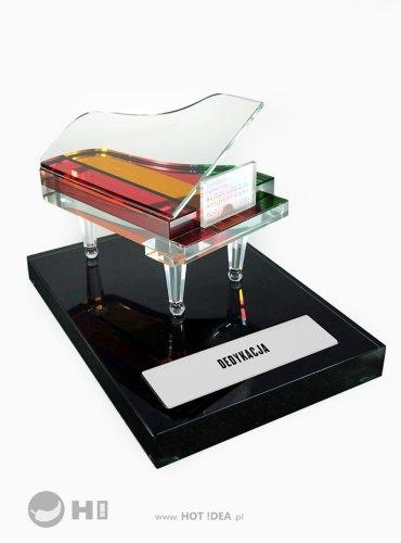 Podziękowanie dla nauczyciela - szklany fortepian - nagroda muzyczna, prezent, statuetka okolicznościowa.